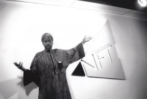 Photo: Senegalese Filmmaker Djbril Diop Mambetey (Touki Bouki/Hyenas) at NFT, Screen Griots Guest interviewed by June Givanni, 1995 (Courtesy BFI)