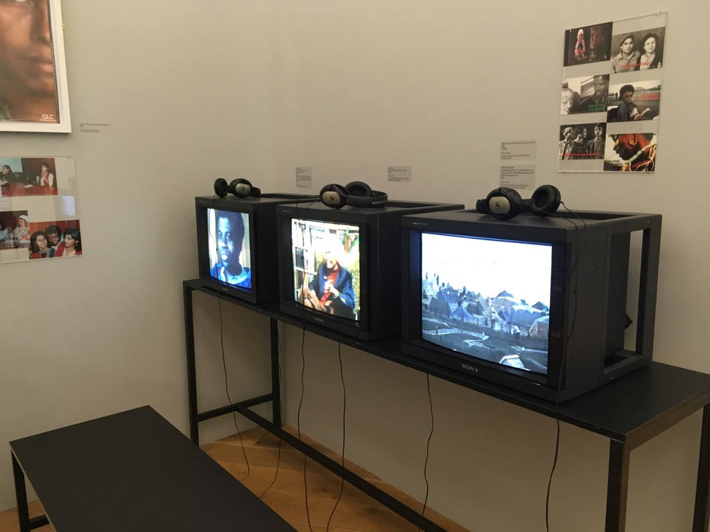 GLC films viewing corner at JGPACA installation at The Place Is Here exhibition, Nottingham Contemporary